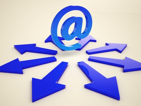 sent: Email Arrows Showing Post Correspondence Through Web Stock Photo