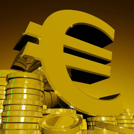 Euro Symbol On Coins Showing European Wealth And Fortune Stock Photo - 20570570