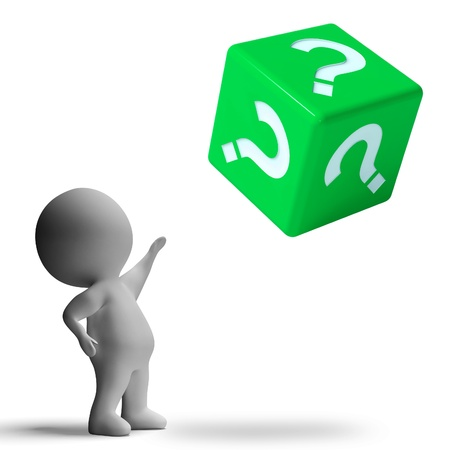 enquiry: Question Mark On Dice Showing Confusion And Uncertainty