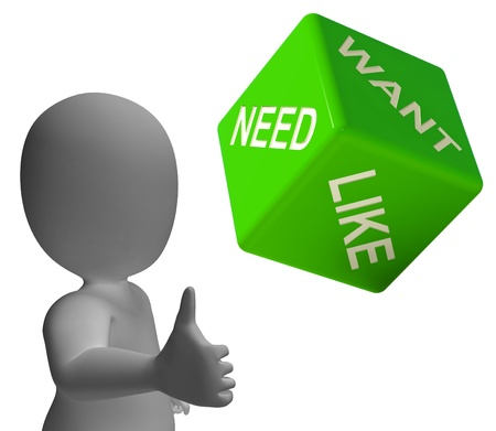 materialism: Need Want And Like Dice Shows Yearning Stock Photo