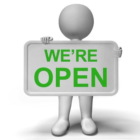 feestelijke opening: We zijn open Teken Shows New Store Launch Stockfoto