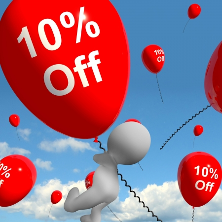 Balloon With 10% Off Shows Discount Of Ten Percent photo