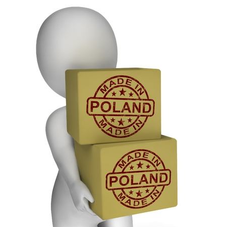 Made In Poland Stamp On Boxes Showing Polish Products photo