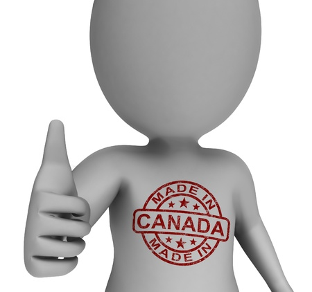 canada stamp: Made In Canada Stamp On Man Showing Canadian Products Approved