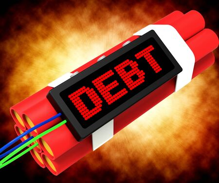 Debt Word On Dynamite Shows Bankruptcy And Poverty