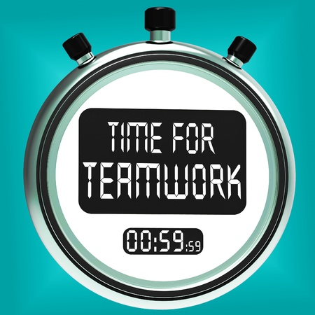 combined effort: Time For Teamwork Message Meaning Combined Effort And Cooperation Stock Photo