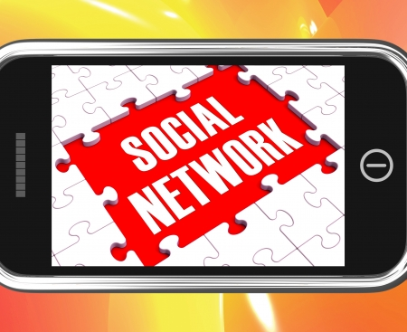interactions: Sociaal Netwerk op Smartphone Resultaat Online interacties en mobiele communicatie Stockfoto