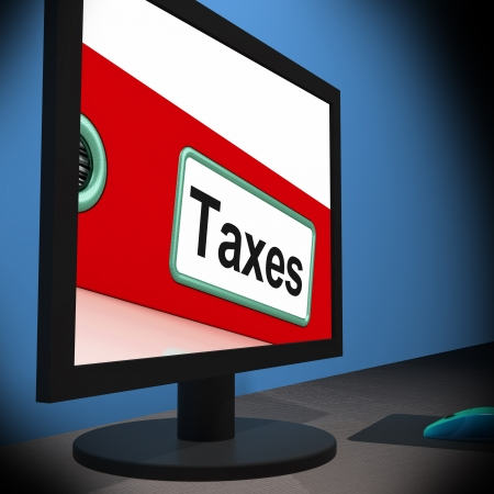 payable: Taxes On Monitor Showing Taxation Or Payable Fees