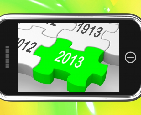 expectations: 2013 On Smartphone Shows Next Years Calendar And Expectations Stock Photo