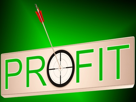lucrative: Profit Showing Earning Revenue And Business Growth Stock Photo