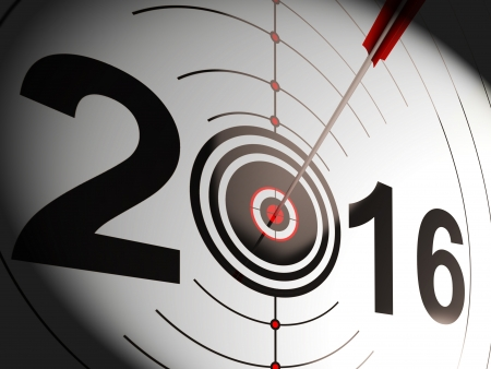 projected: 2016 Projection Target Showing Successful Future Stock Photo