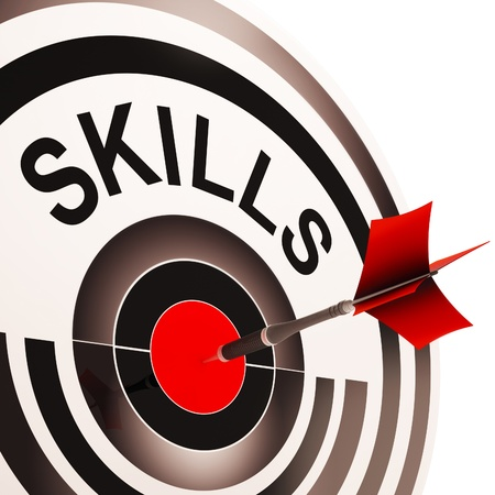 aptitude: Skills Target Showing Aptitude, Competence And Abilities Stock Photo