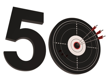 fiftieth: 50 Target Showing Number Fifty Years Old Anniversary