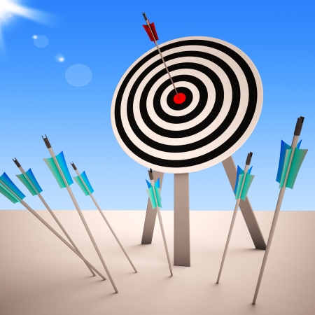 Arrow On Dartboard Showing Successful Shot Or Precise Aim
