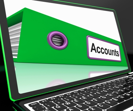 accounts payable: Accounts File On Laptop Shows Accounting And Financial Accounts