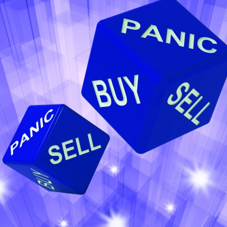 importer: Panic, Buy, Sell Dice Background Showing International Transactions And Business