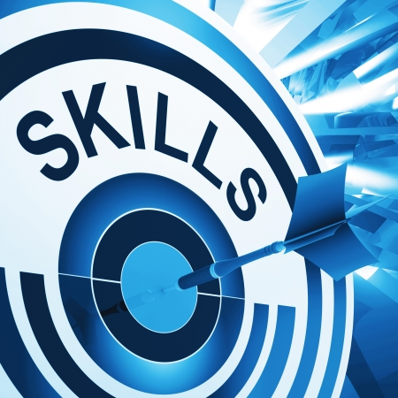 expertise: Skills Target Meaning Aptitude, Competence And Abilities Stock Photo