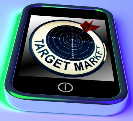 targeted: Target Market On Smartphone Shows Targeted Customers And Aimed Advertising