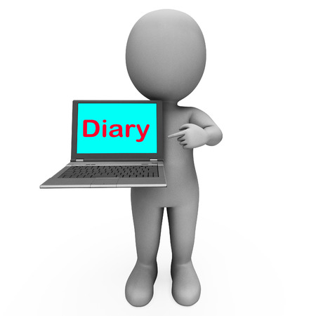 scheduler: Diary Laptop Character Showing Online Reminder Or Scheduler