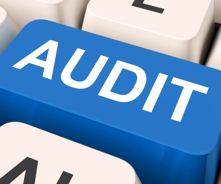 scrutinize: Audit Key Showing Auditor Validation Or Inspection  Stock Photo