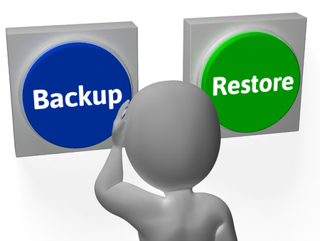 data archiving: Backup Restore Buttons Showing Data Archive Or Recovery Stock Photo