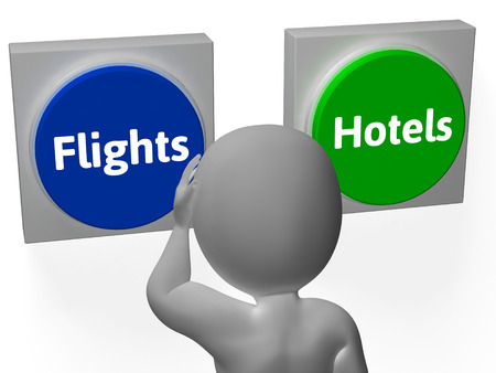 holidays vacancy: Flights Hotels Buttons Showing Hotel Or Flight