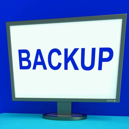 archiving: Backup Screen Showing Archiving Back Up And Storage Stock Photo