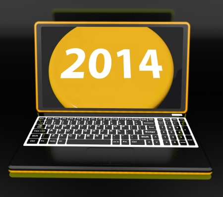 two thousand and fourteen: Two Thousand And Fourteen On Laptop Showing New Year Resolution 2014