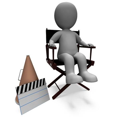 filmmaker: Film Director Character Showing Hollywood Producter Or Filmmaker