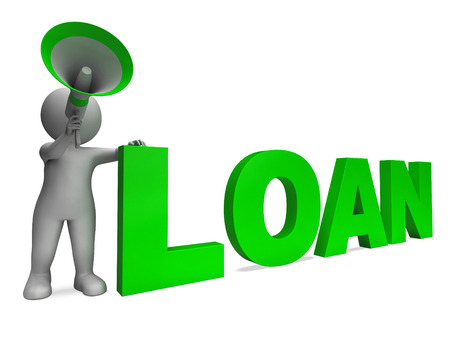 loaning: Loan Character Showing Bank Loans Mortgage Or Loaning Stock Photo