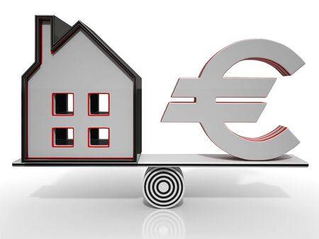 mortgaging: House And Euro Balancing Showing Investment Or Mortgage Stock Photo