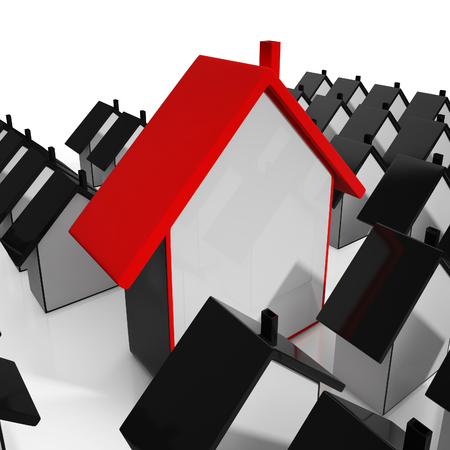 House Icons Shows Selling Real Estate Or Homes Stock Photo - 22675485