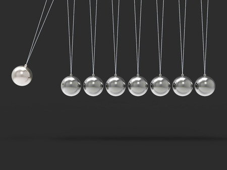 newton's cradle: Eight Silver Newtons Cradle Showing Blank Spheres Copyspace For 8 Letter Word Stock Photo