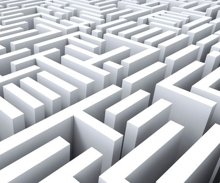 puzzling: Maze Shows Challenge Confusing Puzzling Or Complexity Stock Photo
