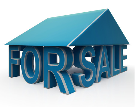 For Sale Sign Under Home Shows Selling Property Stock Photo - 22675496