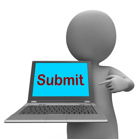 submitting: Submit Laptop Showing Submitting Submission Or Internet