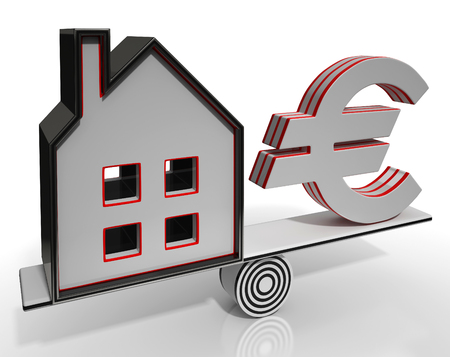 mortgaging: House And Euro Balancing Shows Investment Or Mortgage