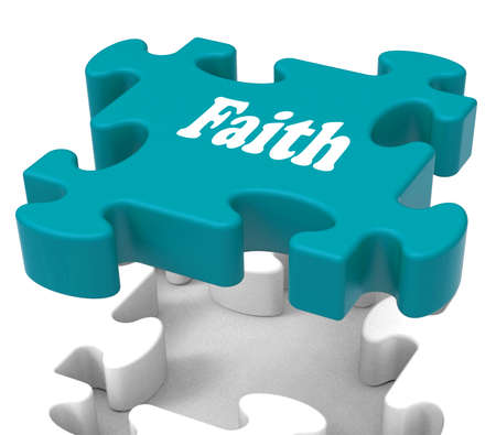 Faith Jigsaw Showing Believing Religious Belief Or Trust