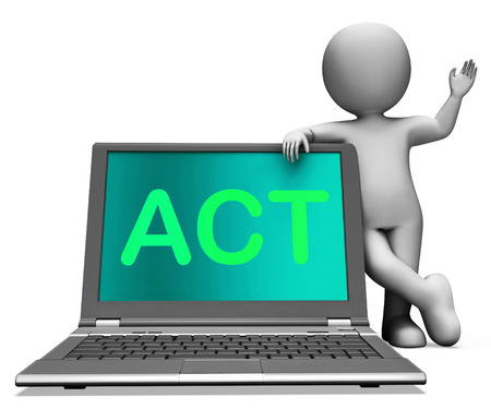 encouraged: Act On Laptop Showing Motivation Inspire Or Performing Stock Photo