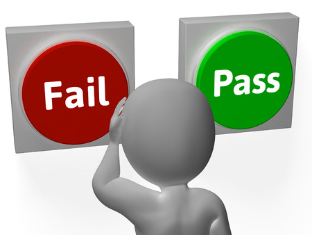 approvement: Fail Pass Buttons Showing Rejection Or Validation Stock Photo