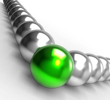 accomplishing: Leading Metallic Balls Showing Leadership And Vision
