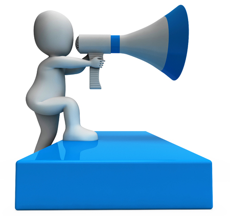 Megaphone Character Showing Announcements Announcing And Announce