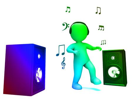 loud speakers: Dancing Disco Character Showing Loud Speakers And Songs