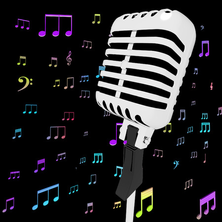 hits: Microphone Music Closeup With Musical Notes Showing Songs Or Hits