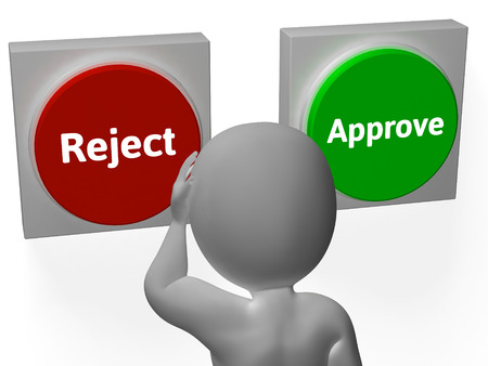 approvement: Reject Approve Buttons Showing Refusal Or Accepted Stock Photo