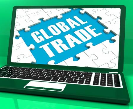 global trade: Global Trade Laptop Showing Worldwide International Business