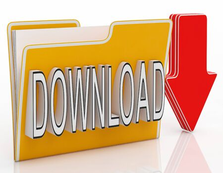 downloading: Download File Shows Downloading Software Or Data Stock Photo