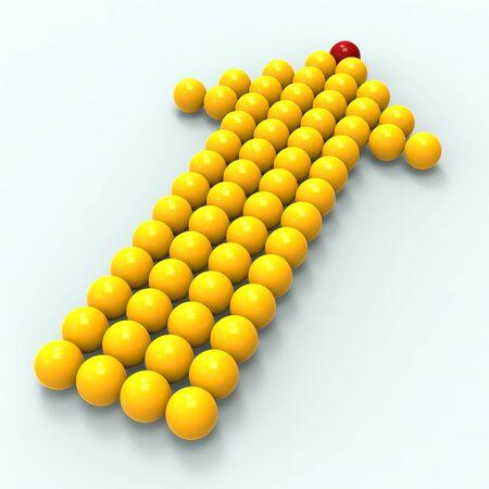 accomplishing: Leading Metallic Balls In Arrow Shows Leadership And Vision Stock Photo