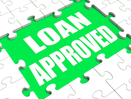 Loan Approved Puzzle Showing Credit Lending Agreement Approval photo