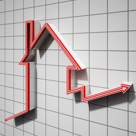 House Icon Showing House Or Building Price Going Up Stock Photo - 22640625